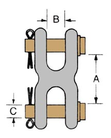 double clevis mid-link chain connecting link